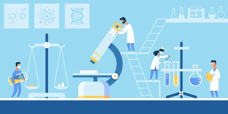 Creating New Formula Drugs in Chemical Laboratory. Men and Women make Experiments with Chemical Elements, Cartoon Flat. Man in White Coat Looks Through Microscope. Vector Illustration.