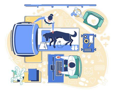 Veterinärklinik-Prüfungsraum-Innenraum mit unterschiedlicher Ausrüstung für Gesundheitspflege und Tierbehandlung. Ärzte und krankes Haustier. Spezialist für die Durchführung von Hundetomographien. Flache Vektorillustration der Karikatur