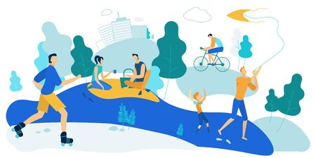 Outdoors Activity at Summer Time. Men, Women and Kids Spending Time on Open Air Exercising, Doing Sport, Going on Picnic, Playing with Children in City Park, Leisure. Cartoon Flat Vector Illustration
