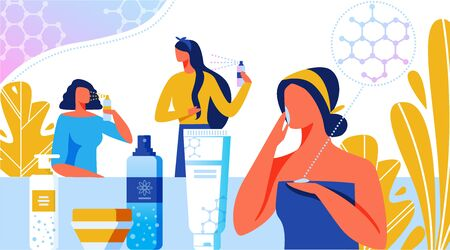 Rejuvenating Cosmetics Banner Vector Illustration. Lotion, Cream, Spray for Woman. Special Structure of Products. Nanotechnology in Beauty Industry. Body Care. Women Taking Care of Skin, Hair.