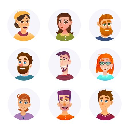 Set Collection Portraits Smiling People Cartoon. Beautiful Young People for Logo. Faces Men and Women Different Ages Smile and Laugh. People Model. Vector Illustration on White Background. Иллюстрация