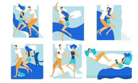 Loving Couple Sleeping and Lounging in one Bed Set. Male and Female Characters Lying Together with Pets Cat and Dog. Weekend Leisure, Spare Time at Home. Lazy People Cartoon Flat Vector Illustration