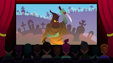 Horror Movie is Shown on Screen in Cinema Cartoon. Foreground, Viewers are Watching Movie Sitting in Cinema, Rear View. On Screen Man in Mask with Knife in his Hand, Scary Film Flat.