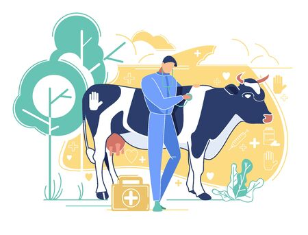 Veterinarian Doctor Listening Heart Beating of Cow using Stethoscope on Farm. Domestic Animal Husbandry, Health Care, Man Character Healing Cattle, Medicine Occupation Cartoon Flat Vector Illustration