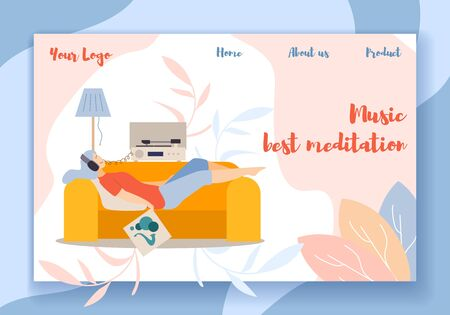Music Best Meditation Horizontal Banner. Young Woman Relaxing on Sofa in Headset Listening Retro Gramophone Record Player, Holding Cover of Vinyl Record in Hand. Hobby Cartoon Flat Vector Illustration