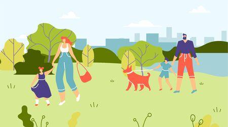 Familles avec enfants et chiens marchant dans le parc. Maman tient la main de sa fille et la conduit à travers le parc, dessin animé. Le père se promène avec son fils et son chien près du lac Flat. Illustration vectorielle.