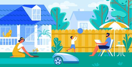 Vector Illustration Automated Lawn Mower Cartoon. Family is Resting in Yard, Robot Mows Lawn. Man Sits with Laptop Under an Umbrella from Sun. Woman Plants Flowers Near House Flat.