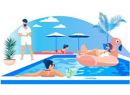 Young Men and Women Having Fun Outdoors in Open Air Swimming Pool Party. People Tanning, Floating in Rubber Ring, Walking, Talking, Drinking Cocktails. Modern Colorful Cartoon Flat Vector Illustration