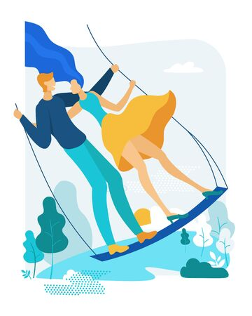Young Couple Riding Seesaw In Park Outdoors. Love and Dreams. Happy Woman and Man on Teeterboard Swinging, Flying High on Nature Landscape Background. Romantic Dating. Cartoon Flat Vector Illustration