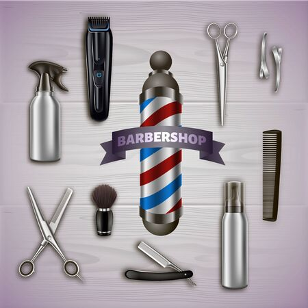 Logo Barbershop and Metal Tools on Gray Background. Barber Tool Kit. Hair Styling Product.