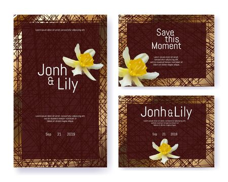 Invitation Set with Yellow Narcissus for Wedding. Floral Bud with Brown Frame over Vintage Graphic Geometric Backdrop. Editable Text and Event Date. Simple Invite Design. Vector Ornament Illustration