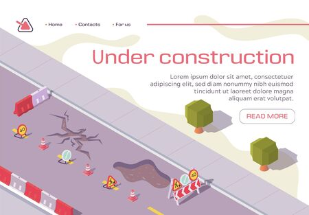 Road Under Construction Repair Horizontal Banner. Broken Pavement Fenced with Warning Signs and Barriers. City Infrastructure, Old Asphalt Repairing, Maintenance, Isometric 3d Vector Illustration Ilustração