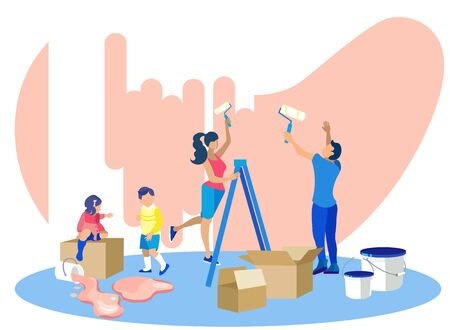 Happy Family Painting Walls in New House. Parents and Children Making Renovation in Apartments. Mother and Father Holding Rollers with Dye, Kids Helping to Mom and Dad Cartoon Flat Vector Illustration