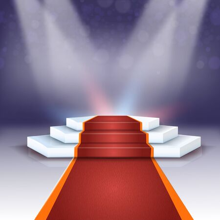 Banner Beautiful Podium with Red Carpet Realistic. Modern Stage Equipment for Implementation Atmospheric Events. Stage Design and Stage Equipment Light Character. Vector Illustration. Illustration