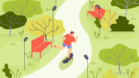Vector Illustration Jogging in Park Cartoon Flat. Activity Guy in Sportswear is Jogging Among Trees.