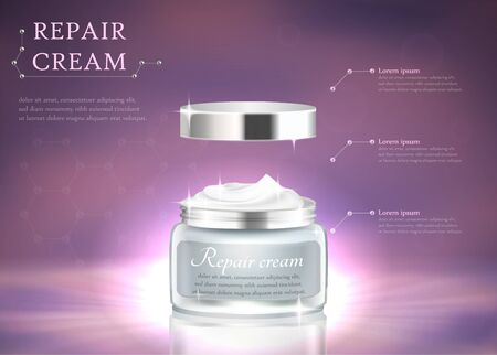 Repair Cream Horizontal Banner with Copy Space. Womans Premium Cosmetics Jar on Blured Purple Glowing Background. Imagens - 129790356