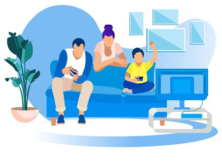 Game Party at Home,Family Fun. Father, Mother, Little Son Sitting on Couch Playing Video Games Competition, Virtual Reality, Weekend Spare Time, Leisure, Gaming Hobby. Cartoon Flat Vector Illustration Standard-Bild - 130742448