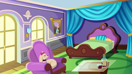 Luxurious Female Bedroom Interior with Double King Size Bed with Canopy, Carpet, Elegant Armchair with Poodle Dog, Table with Bottle and Glass of Wine. House Inside. Cartoon Flat Vector Illustration Stock Illustratie