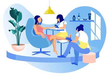 Woman Visiting Beauty Salon, Masters Doing Manicure and Pedicure, Barbershop Interior for Girls, Grooming Place, Club with Professional Devices, Fashion, Spa Body Care Cartoon Flat Vector Illustration Ilustrace
