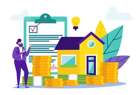 Money Saving Concept for Buying Home. Signed Contract. Man with Contract. Credit Project. Buying Home. Vector Illustration. Coin and Banknote. Cash Savings. Buying House on Credit. Modern House.