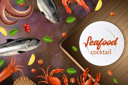 Seafood Cocktail Banner. Various Sea Animals, Fresh Products Promo Flyer Design. Salmon, Octopus, Crab, Fish, Crayfish, Scallop, Lemon, Tomato Lying around White Plate Realistic 3d Vector Illustration