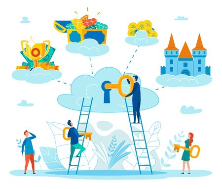 Finding Key to Personal Happiness Flat Vector Concept with People Climbing on Ladder to Cloud, Putting Key in Keyhole, Reaching Success in Business, Getting Wealth, Find Inspiration Illustration