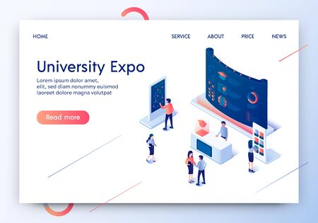 University Expo Horizontal Banner. People Standing at Promotional Stands. Demonstration Panel, Promo Desk for Information. Exhibition Display and People with Handout. 3D Isometric Vector Illustration.  イラスト・ベクター素材