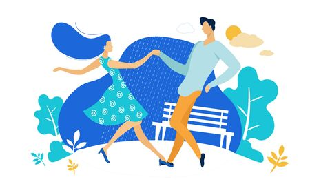 Young Couple Sparetime with Dancing Outdoors, People Active Lifestyle, Man and Woman in Loving or Friendly Relations Spend Time Together, Disco Dance Leisure or Hobby. Cartoon Flat Vector Illustration
