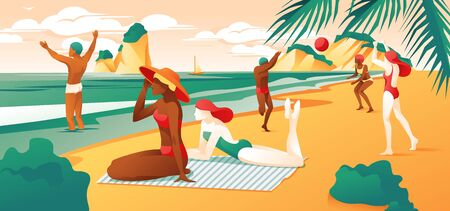 Summer Day at Beach Sea Coast. Cartoon Women in Bikini Swimsuit. People Play Volleyball. Man in Water Vector Illustration. Ocean Shore Relax Rest Resort. Nature Recreation. Tropical Travel Vacation