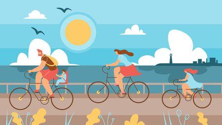 Familie mit Kindern, die entlang der Küste Fahrräder reiten. Mann und Frau mit Kindern verbringen Zeit mit dem Radfahren im Hintergrund Meer. Im Vordergrund nimmt Vater seinen Sohn mit dem Fahrrad, Mutter und Tochter fahren Fahrräder.