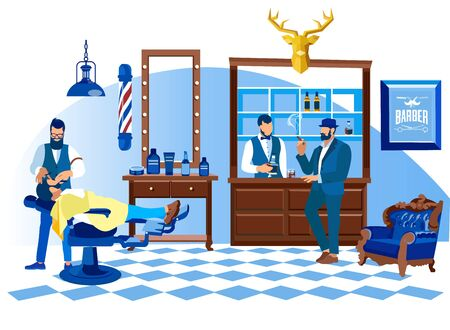 Barber Shaving Customer Lying on Chair with Straight Razor, Men Hairdressing Salon Interior. Barbershop Grooming Place with Bar Desk, Professional Beauty Club, Fashion Cartoon Flat Vector Illustration