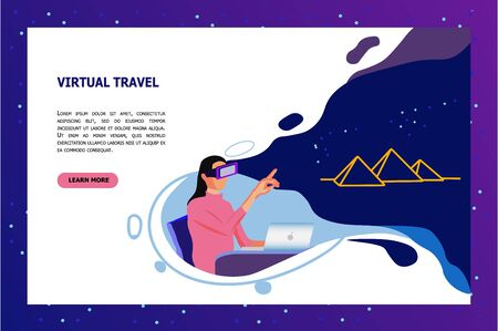 Young Woman in VR Glasses Making Virtual Travel to Ancient Egypt at Home. Futuristic Educational Technologies, Smart Devices in Studying Process Cartoon Flat Vector Illustration, Horizontal Banner.