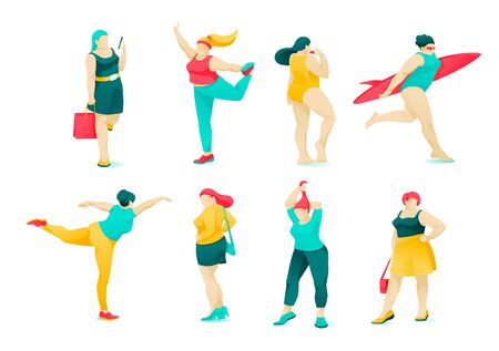 Poster Set Action and Character Obese Women Flat. Active Life Woman with Excess Weight. Girl Goes Shopping, Surfs, Dresses Fashionably, Stretches. Vector Illustration on White Background.  イラスト・ベクター素材