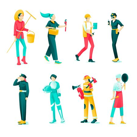 Banner Collection Female Professions Cartoon Flat. Set Young Women Work Male Professions: Farmer, Plumber, Builder, Policeman, Military Man, an Astronaut, Fireman, Cook. Woman Lifestyle. Illustration