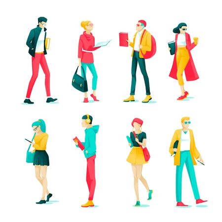 Poster Set Character Students and Teenagers Flat. Fashionably Dressed Teenagers Walk Down Street Cartoon. Guy in Headphones Listening to Music. Vector Illustration on White Background.  イラスト・ベクター素材