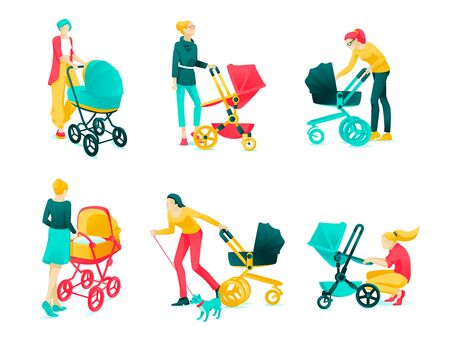 Poster Set Character Young Mothers Cartoon Flat. Woman Walking with Stroller and Dog. Group Young Mothers with Different Strollers for Babies. Vector Illustration on White Background.