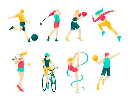 Flat Banner Collection Sports Character People. Set Active Leisure: Tennis, Football, Gymnastics, Golf, Jogging, Biking, Handball. Boys and Girls do Different Sports. Vector Illustration.