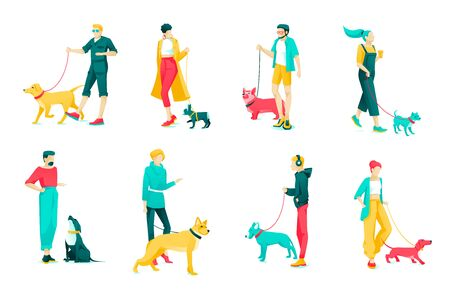 Poster Set Character Dog Owners, Cartoon Flat. Group Men and Women Walk with Dogs Large and Small Breed. People Love Pets. Dog Walking on Leash. Vector Illustration on White Background.