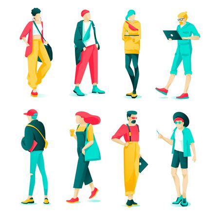 Poster Set Fashion Characteristic Young People. Modern Guys and Girls are Dressed Fashionable Clothes. People with Current Image and Stylish Hairdo. Vector Illustration on White Background. Illusztráció