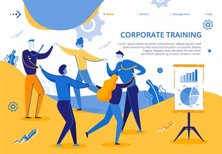 Corporate Training for Group Company Employees. Man and Woman Stand in Circle Holding Hands. Improve Performance People. Illusztráció