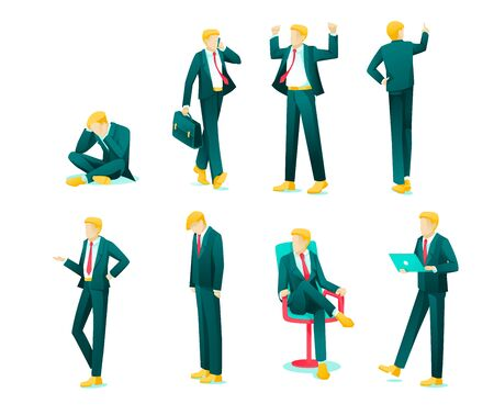 Banner Collection Emotions Business Person Flat. Set Guy in Business Suit Experiences Strong Emotions: Disappointment, Anger, Irritation, Guilt, Superiority, Indifference, Interest Cartoon.