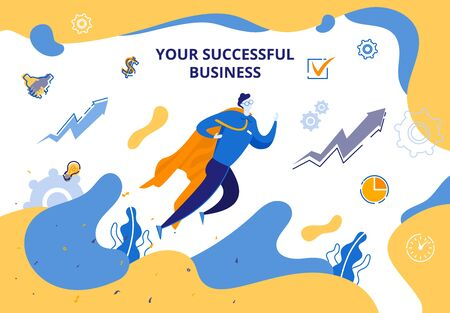 Banner Flat Illustration Your Successful Business. Young Man Takes Off to Top Business Success. Motivation to Achieve Goal. Illusztráció