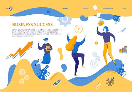 Banner Group Young Girls Rejoices Business Success. Woman Happily Jumping Holding Book in her Hand. Corporate Team Success in Company Business. Joint Work on Common Cause. Corporate Finance Officer Illusztráció