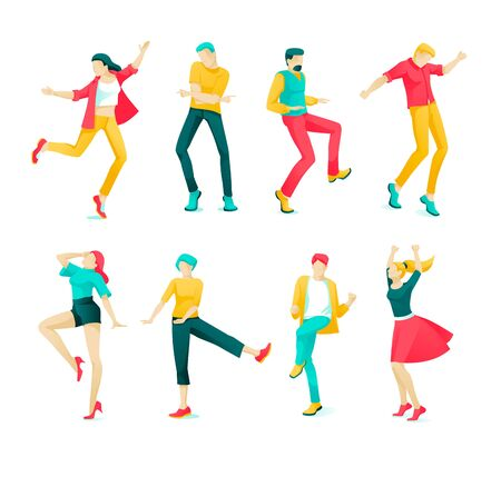 Banner Collection Dancing People Cartoon Flat. Set Energetic Boys and Girls are Having Fun Dancing. Arm and Leg Movements to Music. Different Lifestyle. Vector Illustration on White Background.