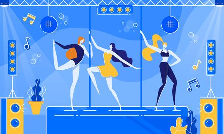 Night Club Party with Go-go Dancer in Costumes Stage Vector Illustration. Girl Dance in Dress, Lingerie, Underwear. Pole Dance Class, Sport Training School. Illusztráció