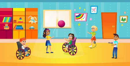 Young Children Playing with Ball Flat Cartoon Vector Illustration. Disabled Children on Wheelchair and with Prosthesis Doing Sport Together in Room.