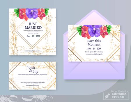 Save Moment, Just Married and Newlyweds Names Lettering. Wedding Cards and Envelop Set. Illusztráció