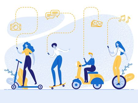 Young Business People with Smartphones Driving Different Ecological Transport as Electronic Scooter, Bike, Scateboard, Monowheel, Smart Technologies in Human Life, Cartoon Flat Vector Illustration