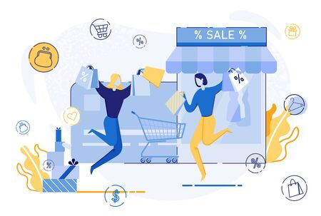 Happy Woman Jumping With Shopping Bags Flat Cartoon Vector Illustration. Woman Buying Clothes in Store. Female Characters Carrying Purchases near Showcase with Dresses. Sale in Shop