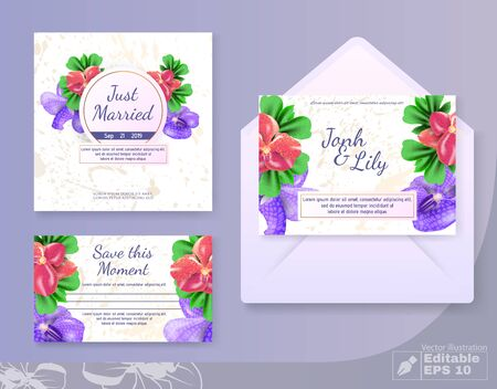 Wedding Cards Set with Anemone Flowers Decoration. Marriage Couple Names, Just Married, Save Moment Titles on Marble Backdrop. Illusztráció